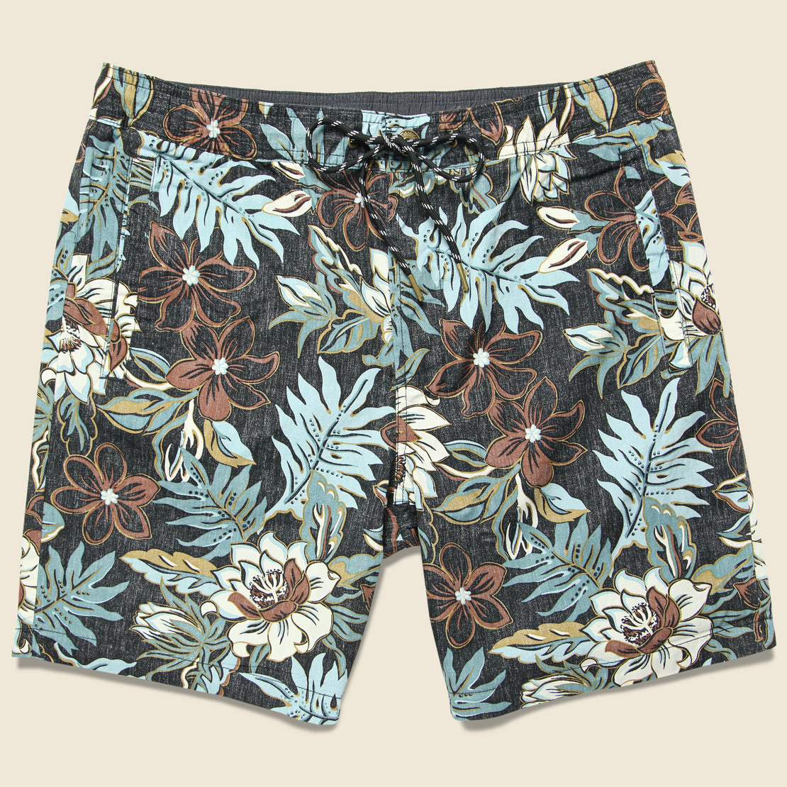 Reyn Spooner Vintage Hawaiian Floral Swim Trunk - Black