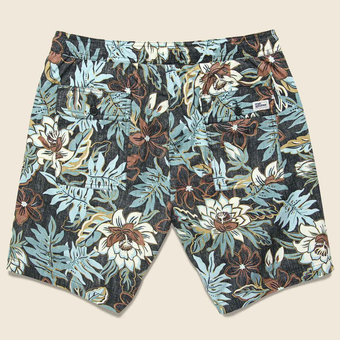 Vintage Hawaiian Floral Swim Trunk - Black