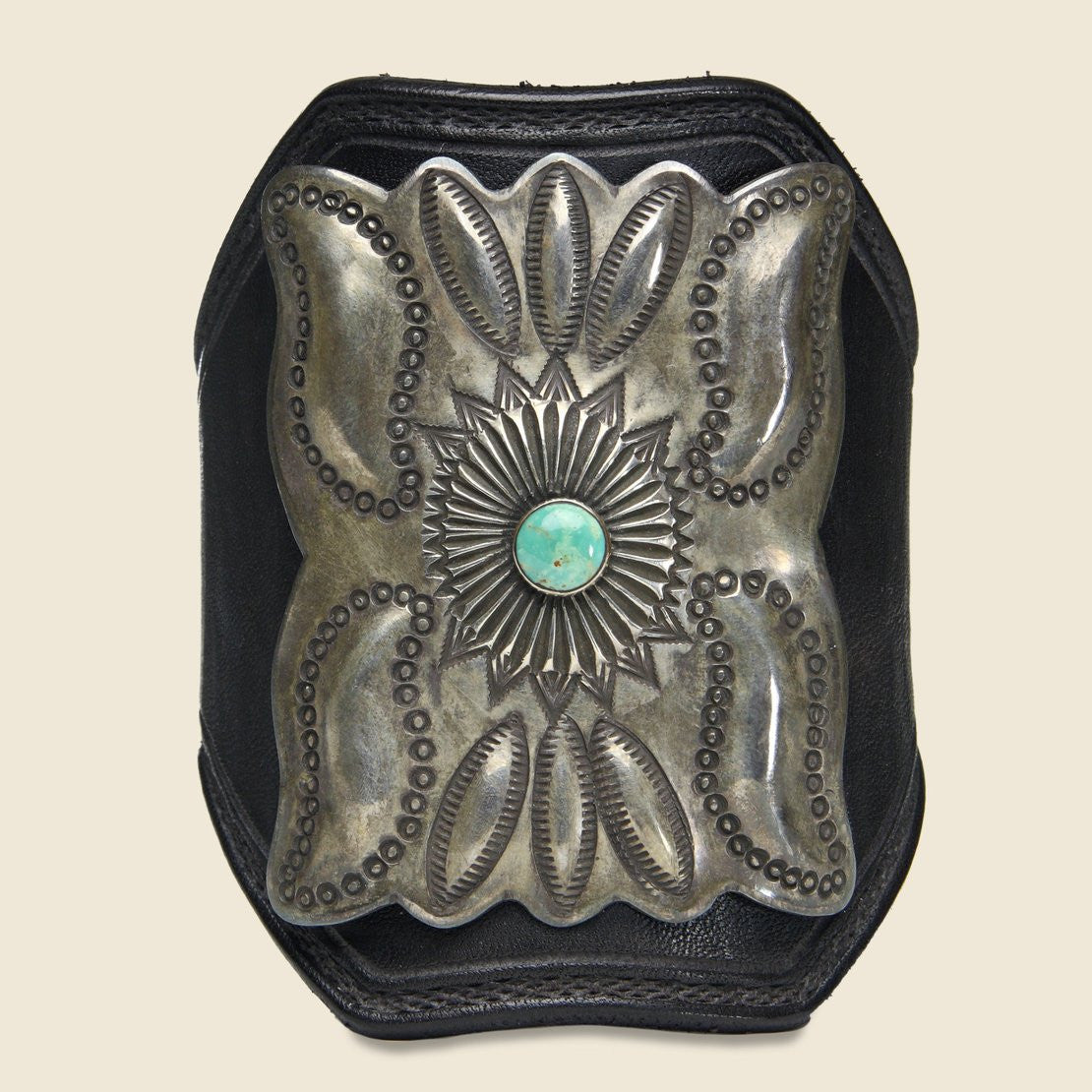 Leaf & Small Flower Motif Ketoh - Leather/Sterling/Turquoise