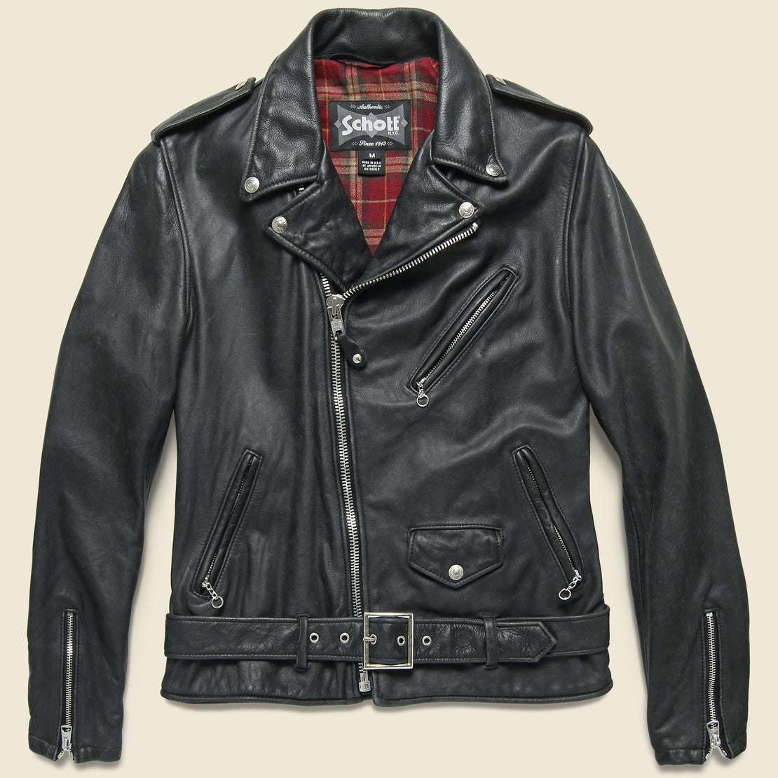 Schott Vintaged Lightweight Fitted Cowhide Motorcycle Jacket - Black
