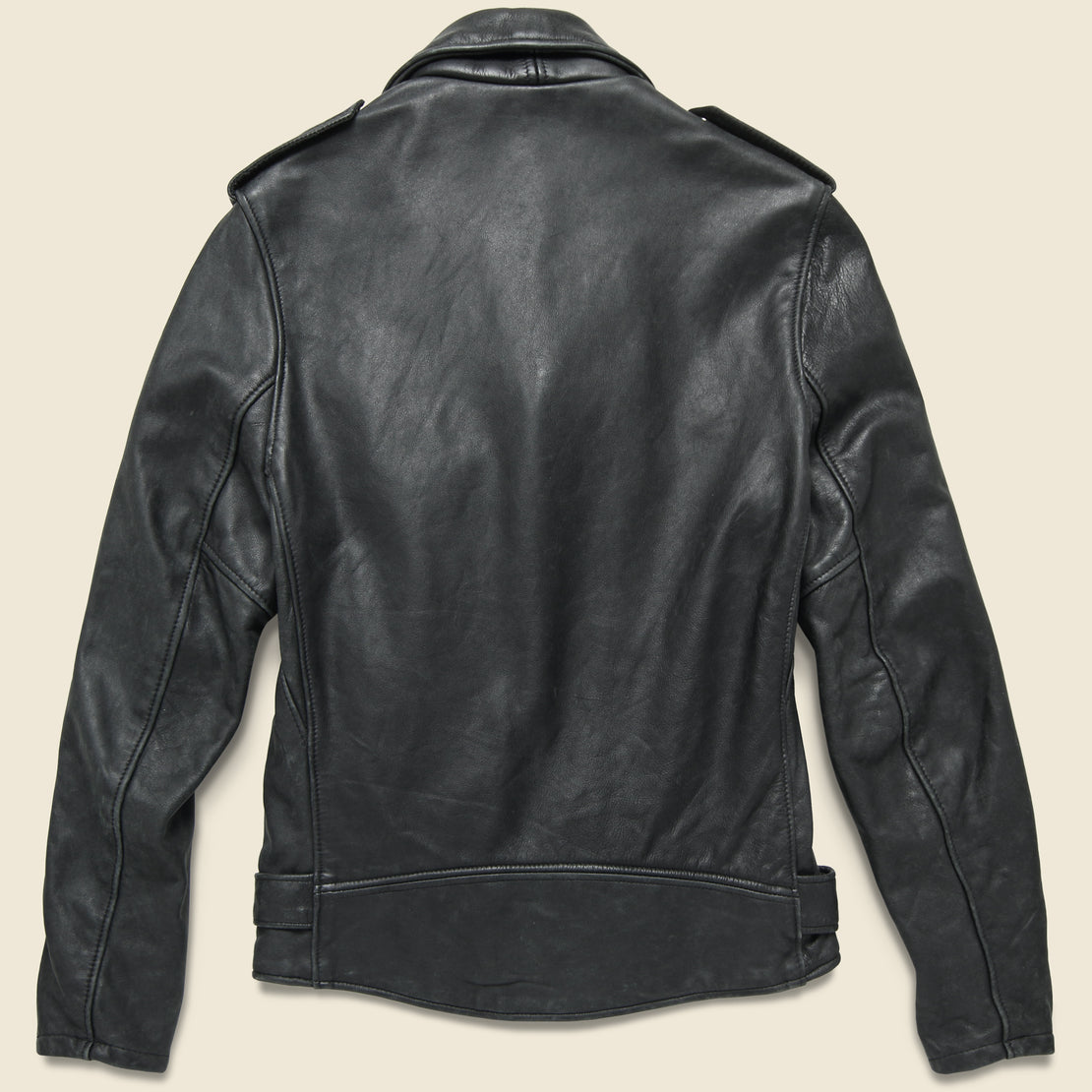 Vintaged Lightweight Fitted Cowhide Motorcycle Jacket - Black
