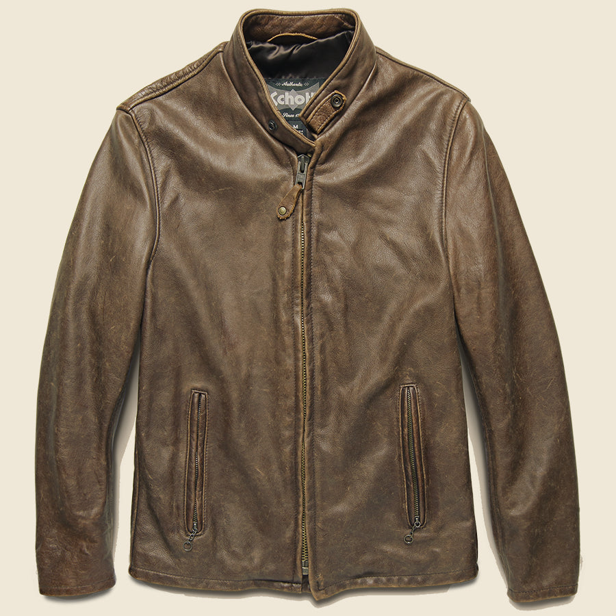 Schott Cowhide Leather Café Racer Jacket - Brown