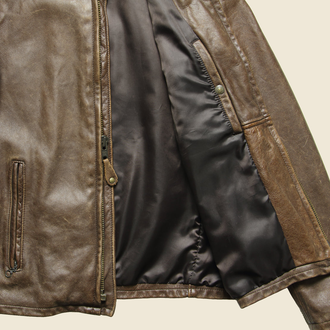 Cowhide Leather Café Racer Jacket - Brown