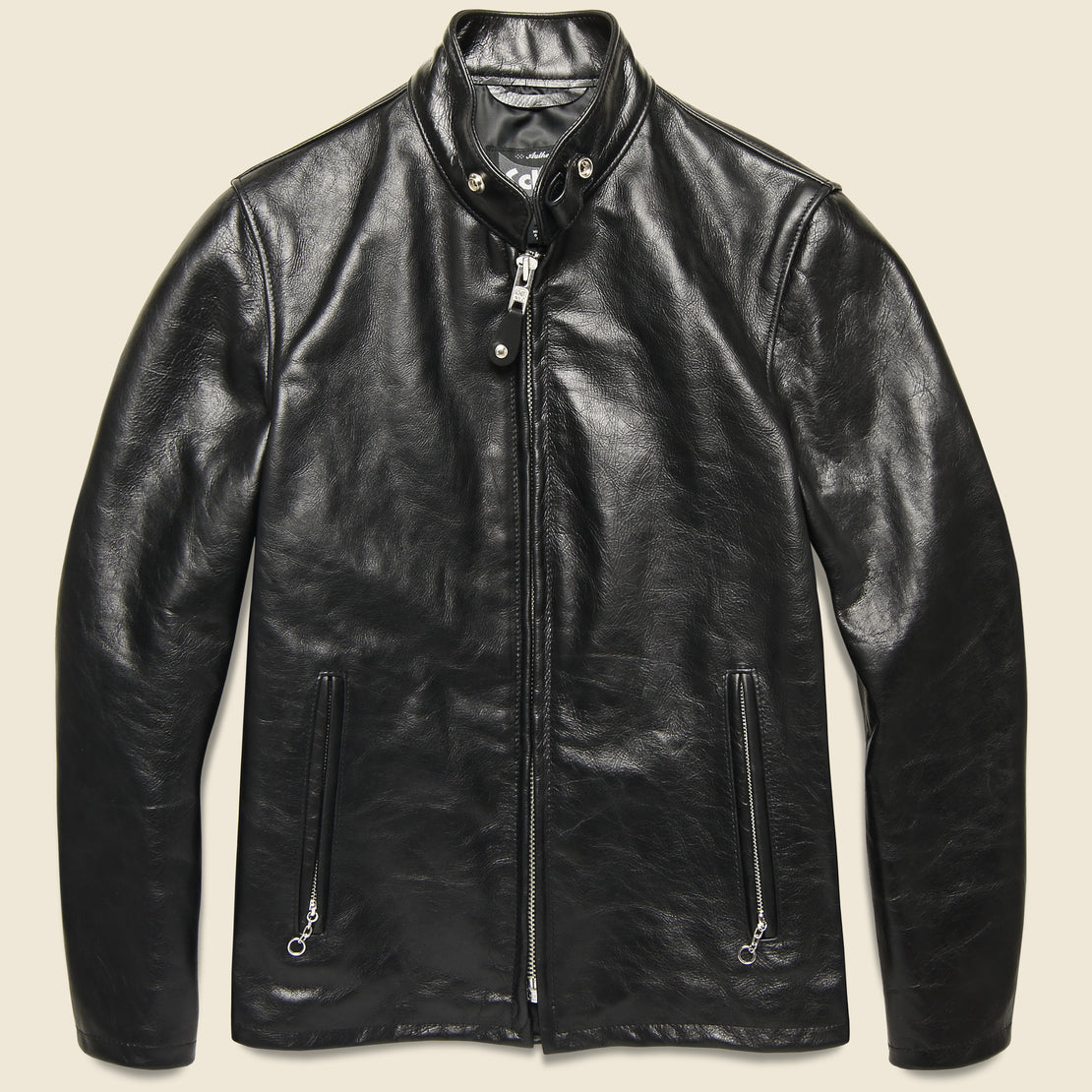 Schott Cowhide Casual Racer Leather Jacket - Black