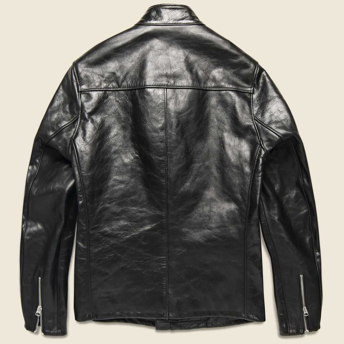 Cowhide Casual Racer Leather Jacket - Black