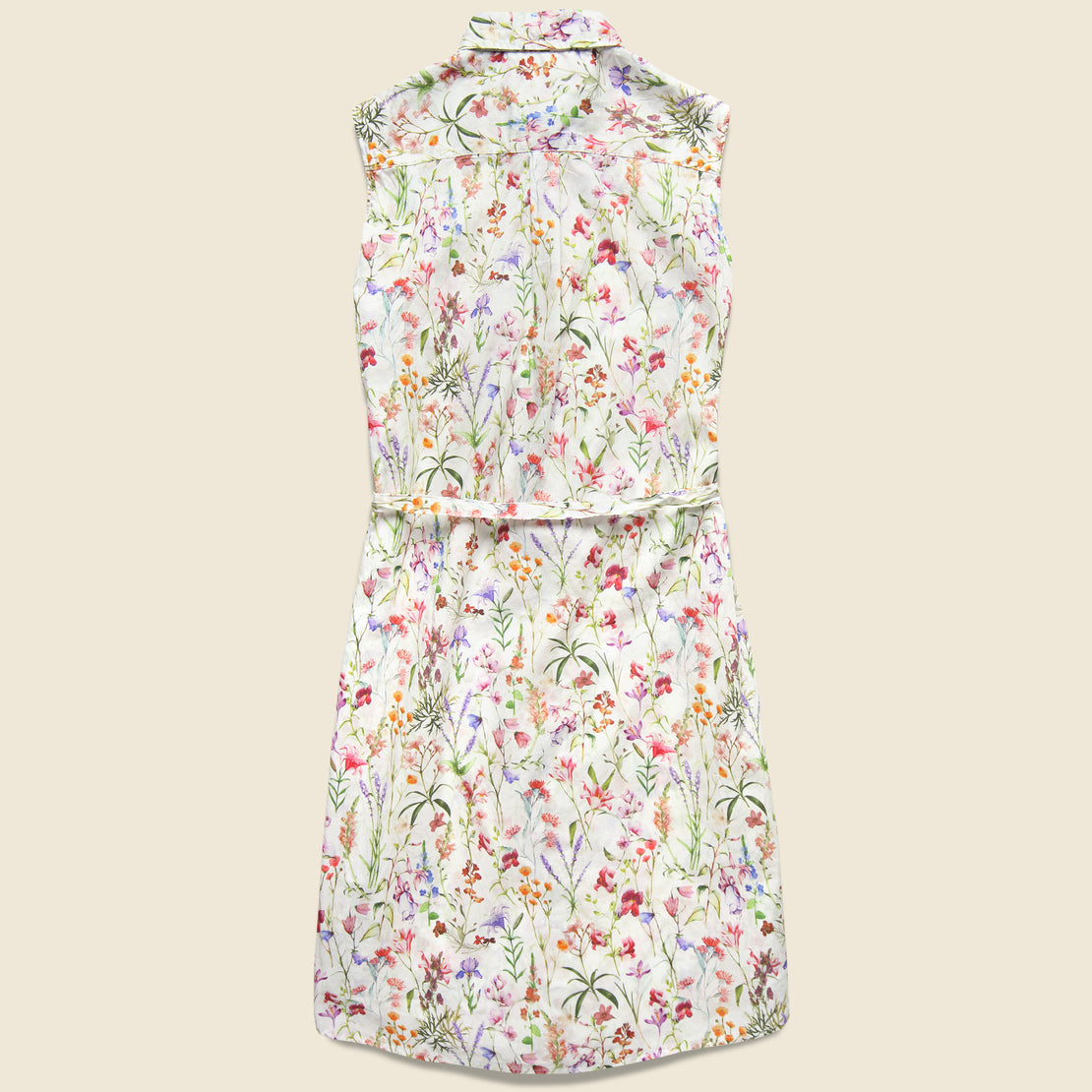 Sleeveless Shirt Dress - Spring Floral
