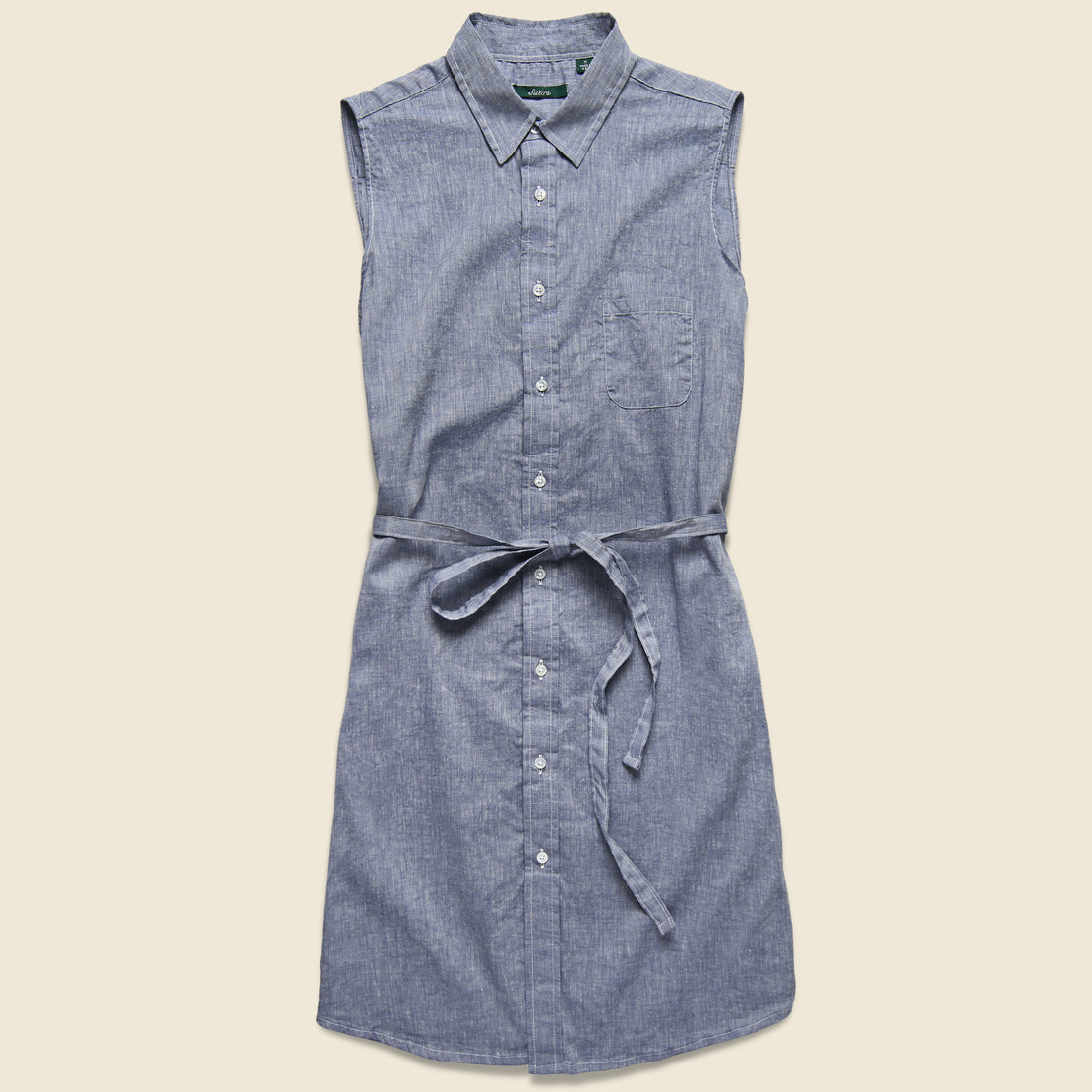 Gitman Vintage Sleeveless Shirt Dress - Blue Chambray