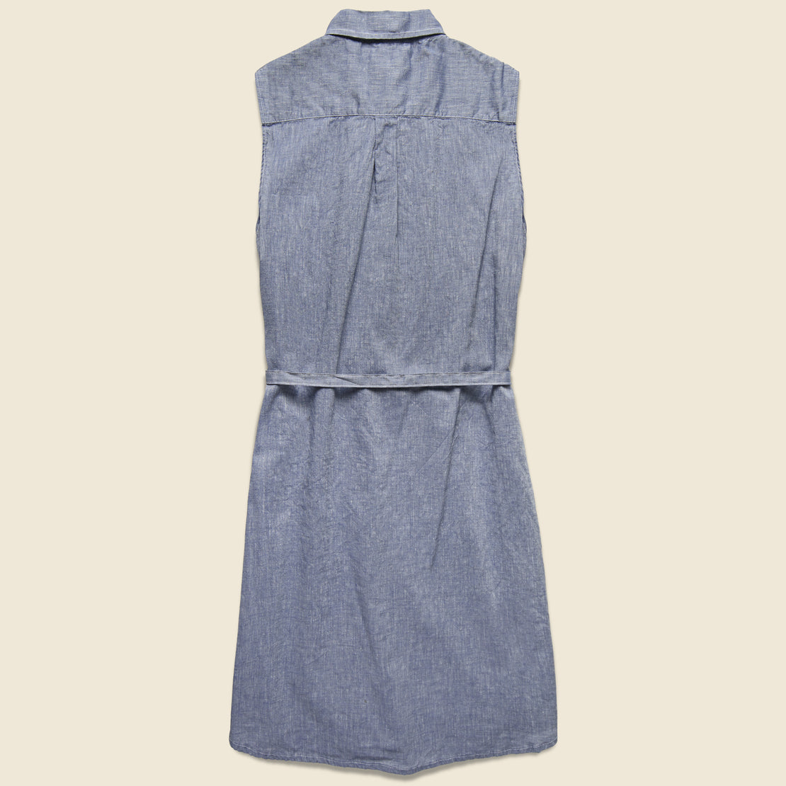 Sleeveless Shirt Dress - Blue Chambray