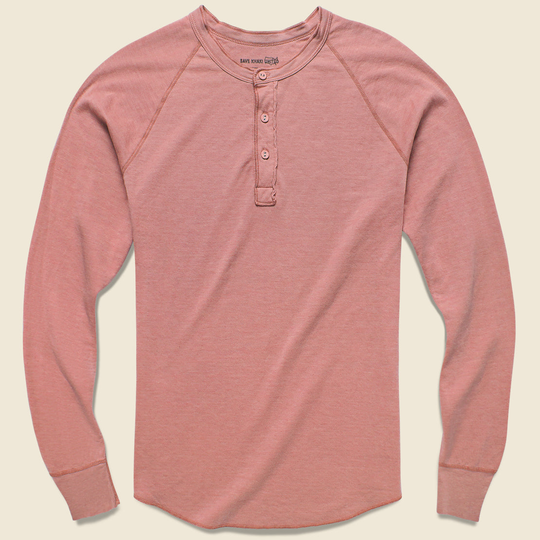 Save Khaki Pointelle Henley - Brick