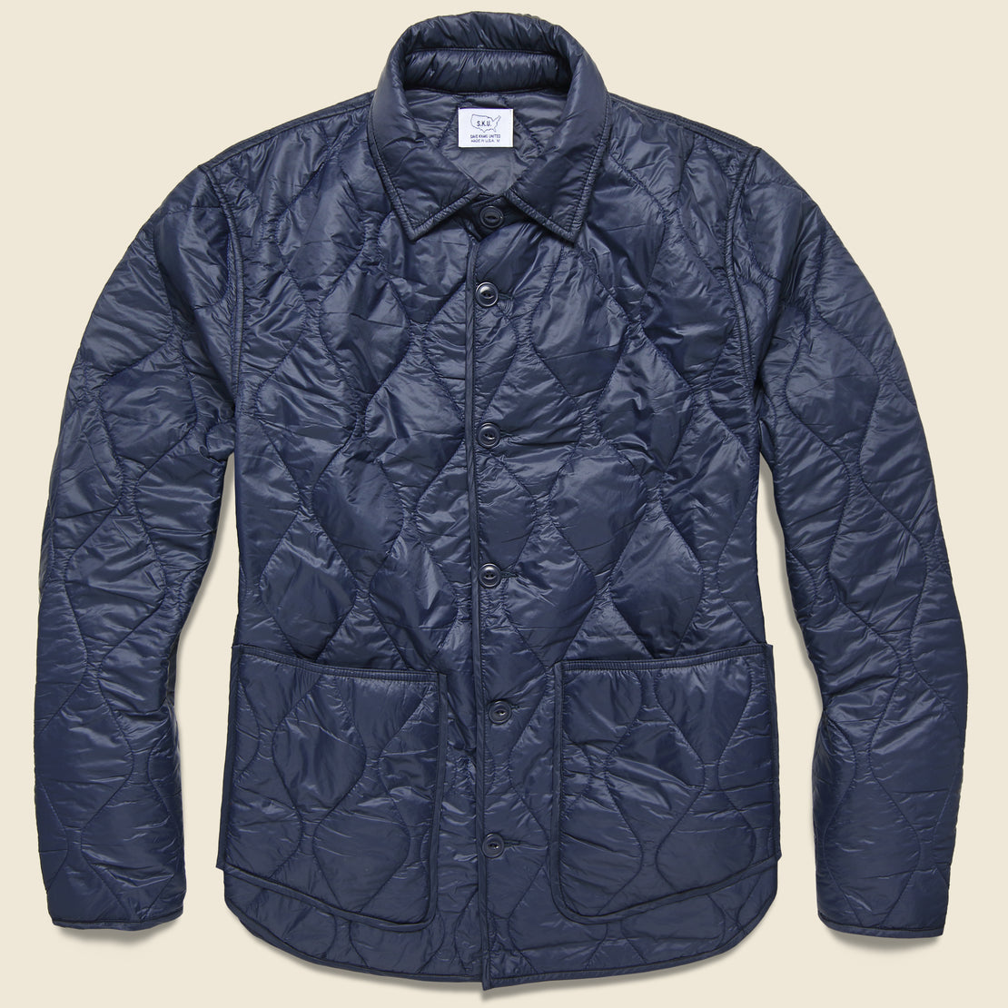 Save Khaki Quilted Nylon Shirt Jacket - Navy