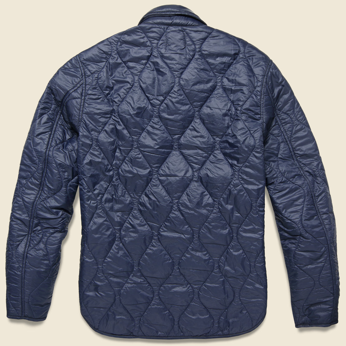 Quilted Nylon Shirt Jacket - Navy