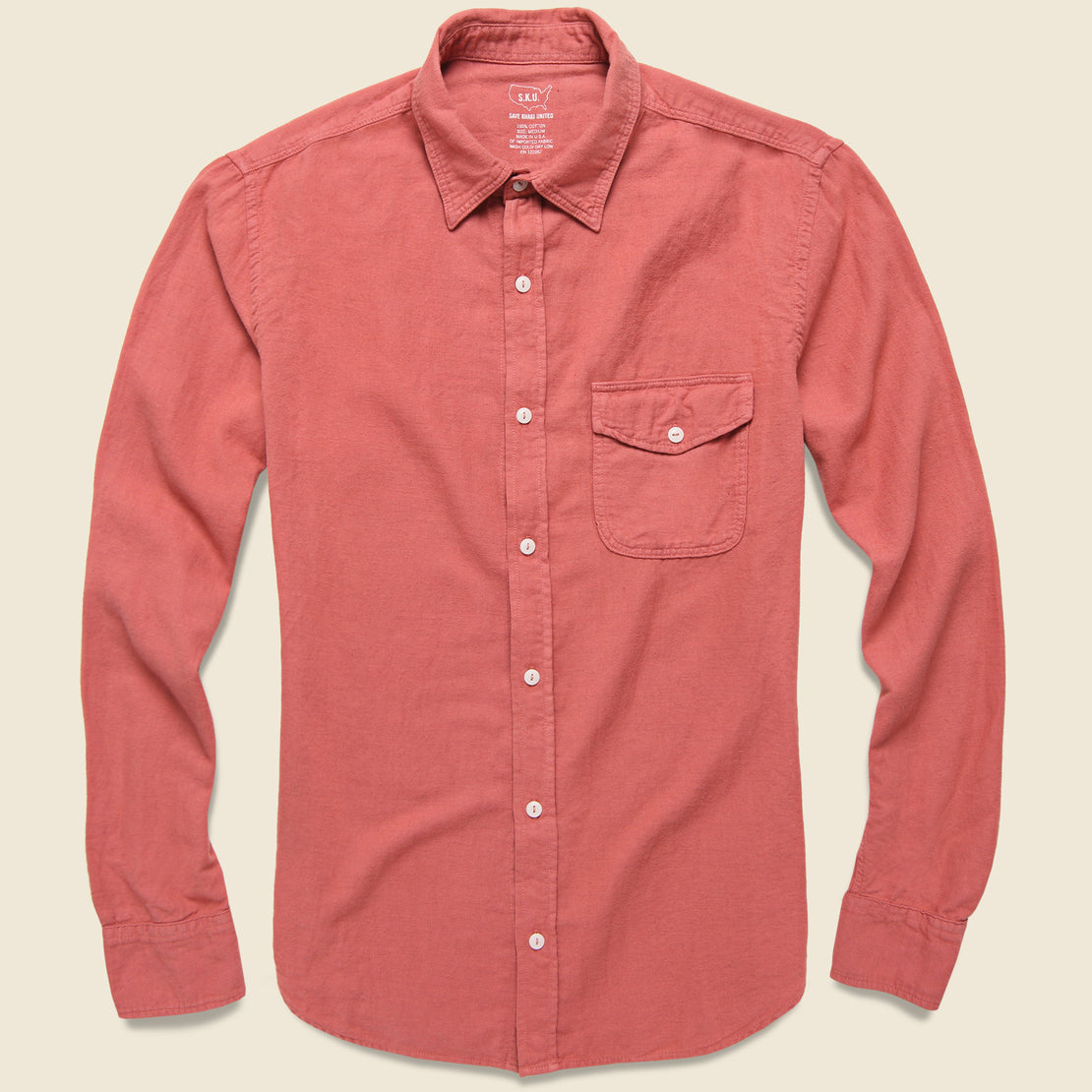 Save Khaki Oatmeal Flannel Workshirt - Terra