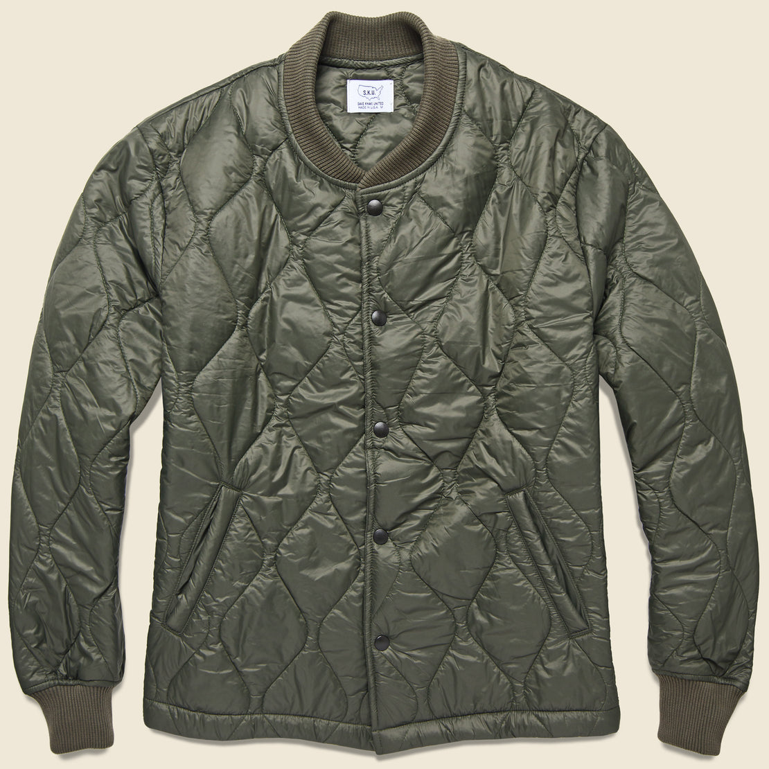 Save Khaki Quilted Nylon Bomber - Olive