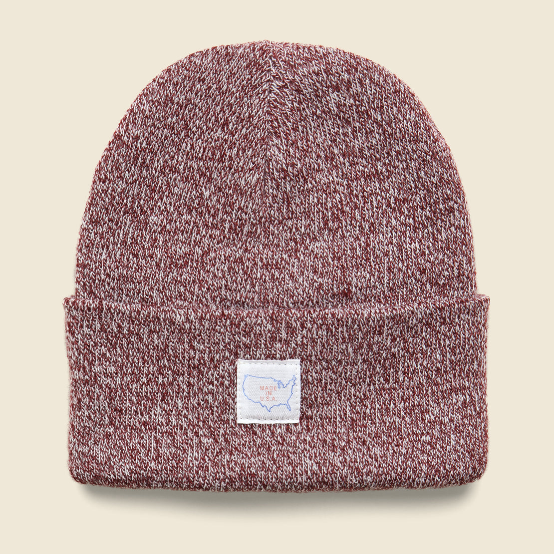 Save Khaki Marled Map Label Cap - Burgundy