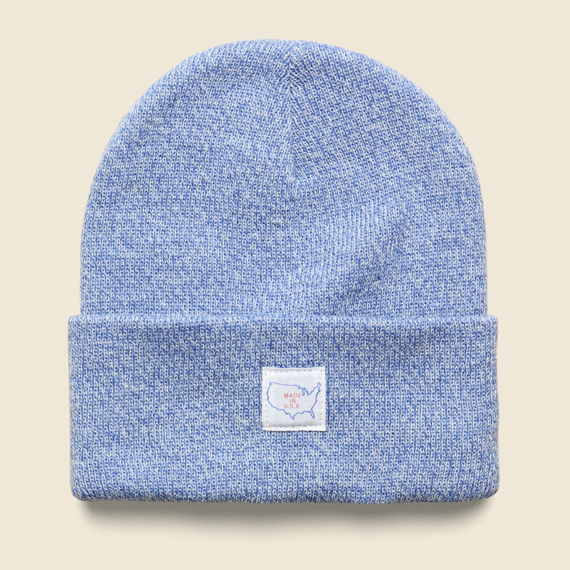 Save Khaki Marled Map Label Cap - Light Blue