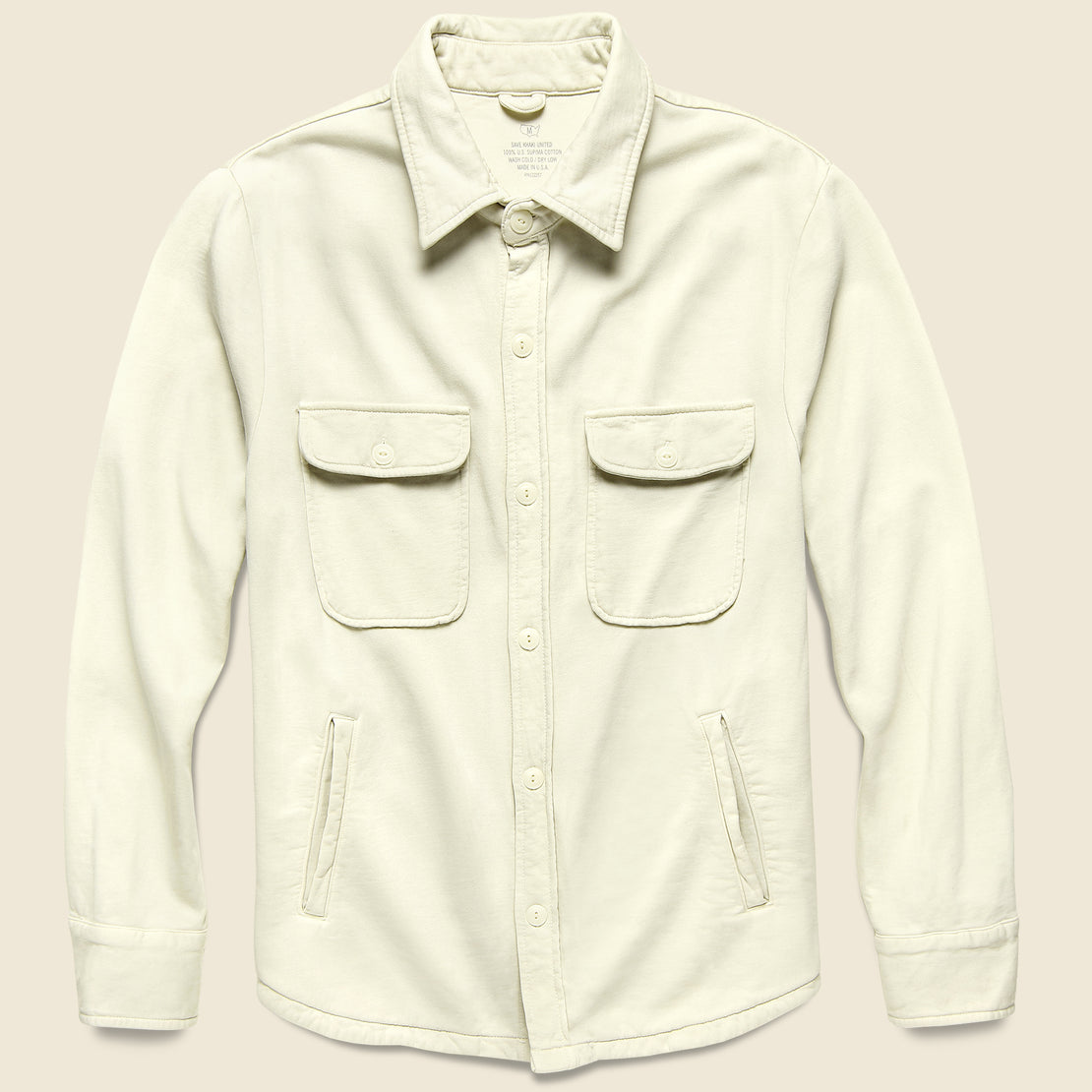 Save Khaki Supima Fleece CPO Shirt Jacket - Stone