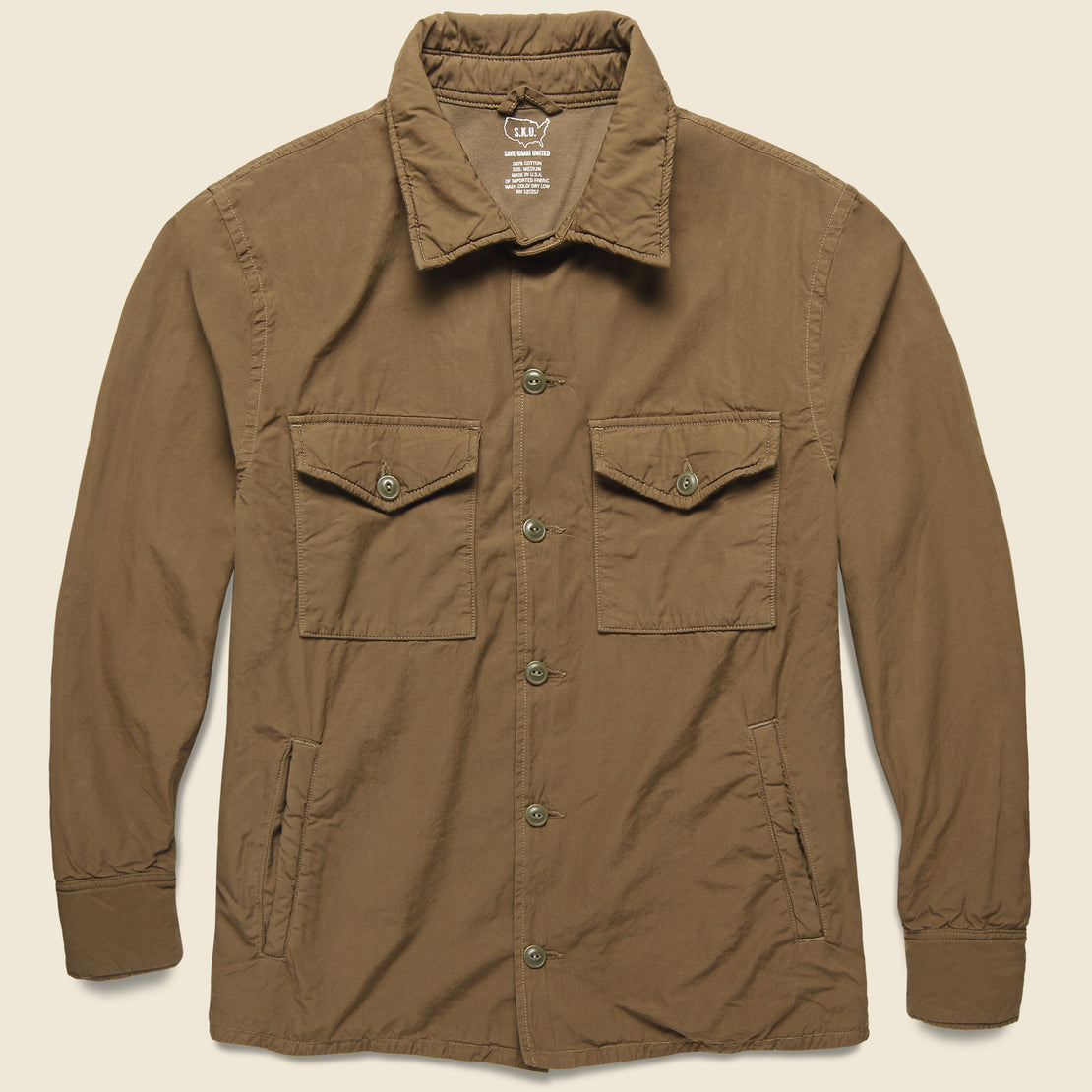 Save Khaki Fleece Lined Shirt Jacket - Barley