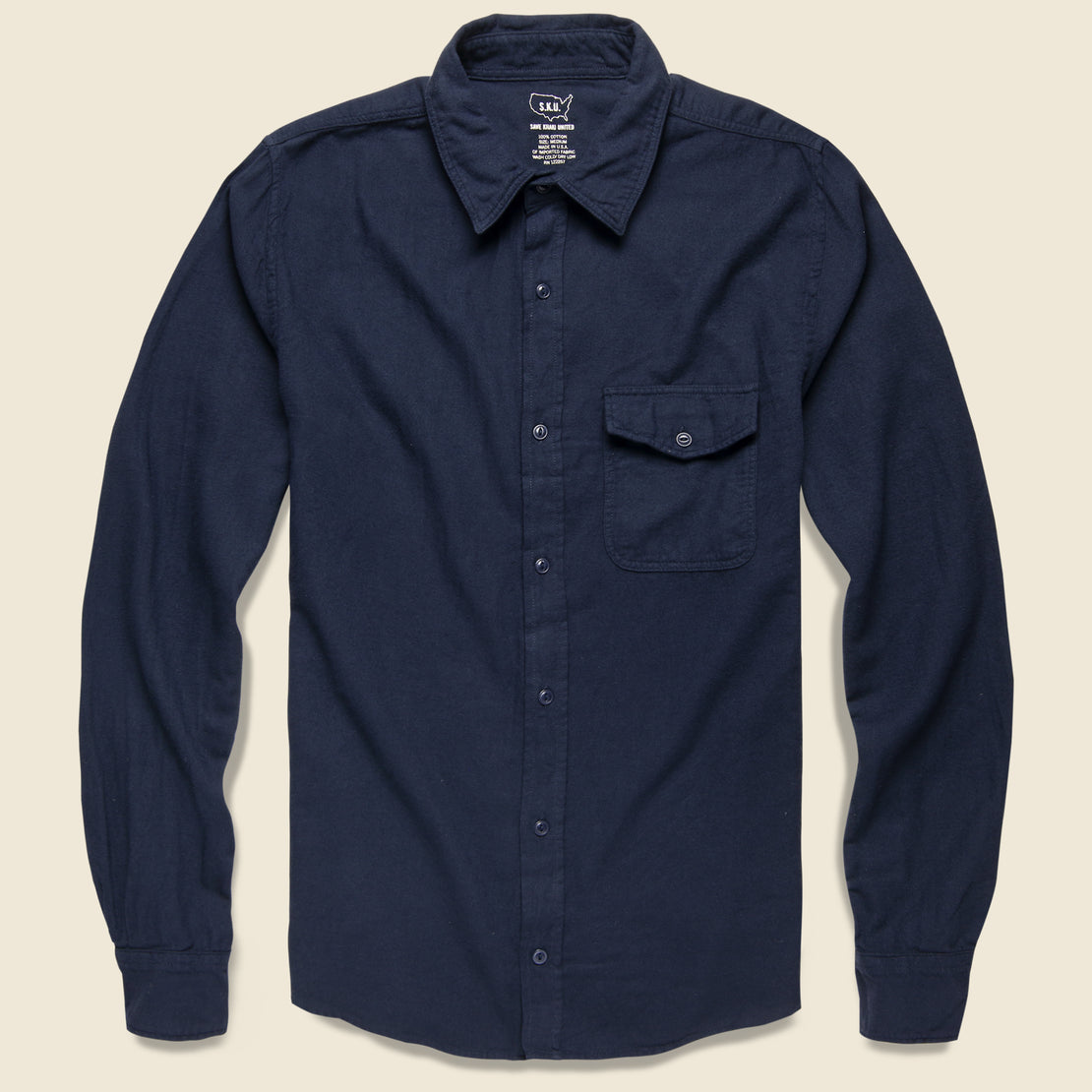 Save Khaki Oat Flannel Workshirt - Navy