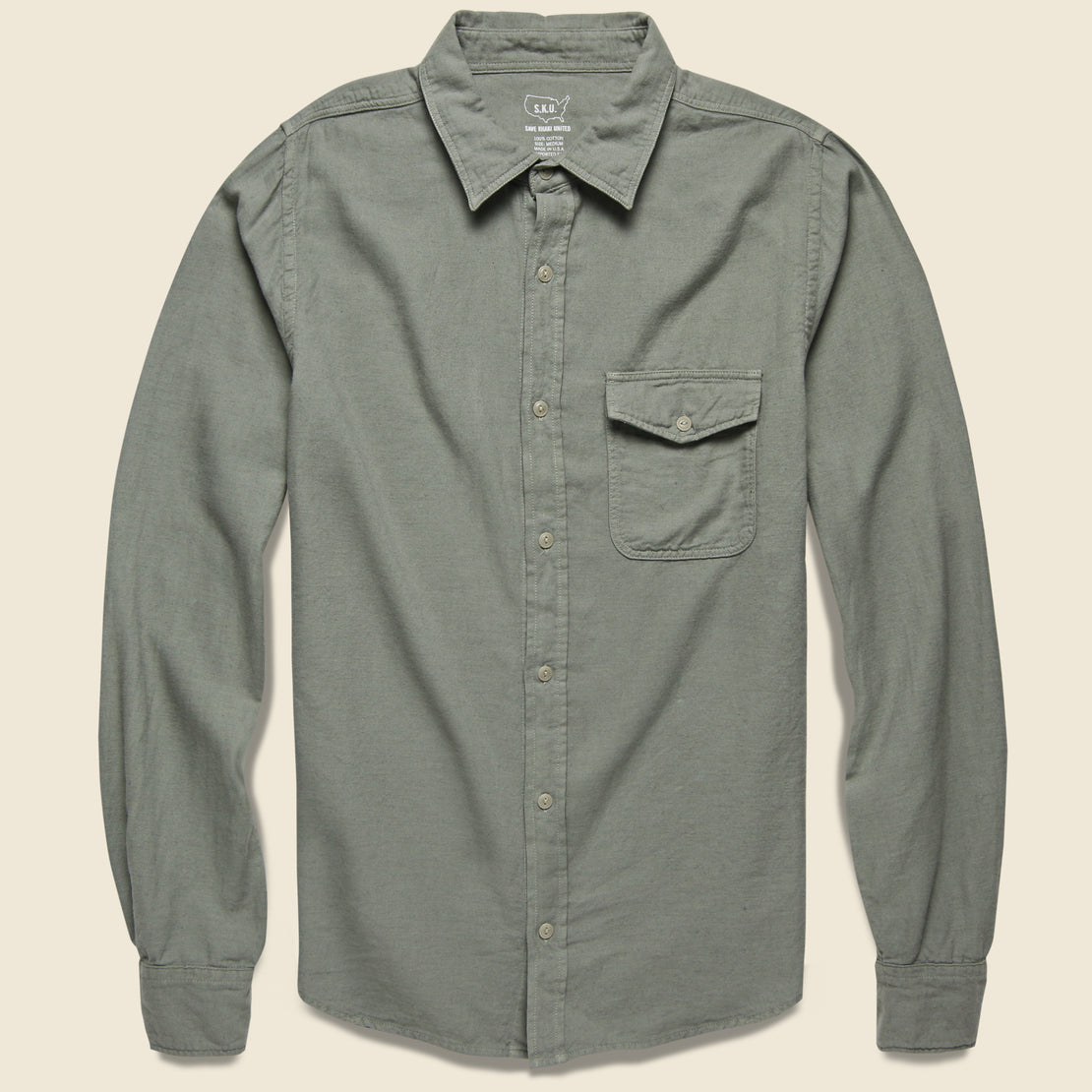 Save Khaki Oat Flannel Workshirt - Sprout