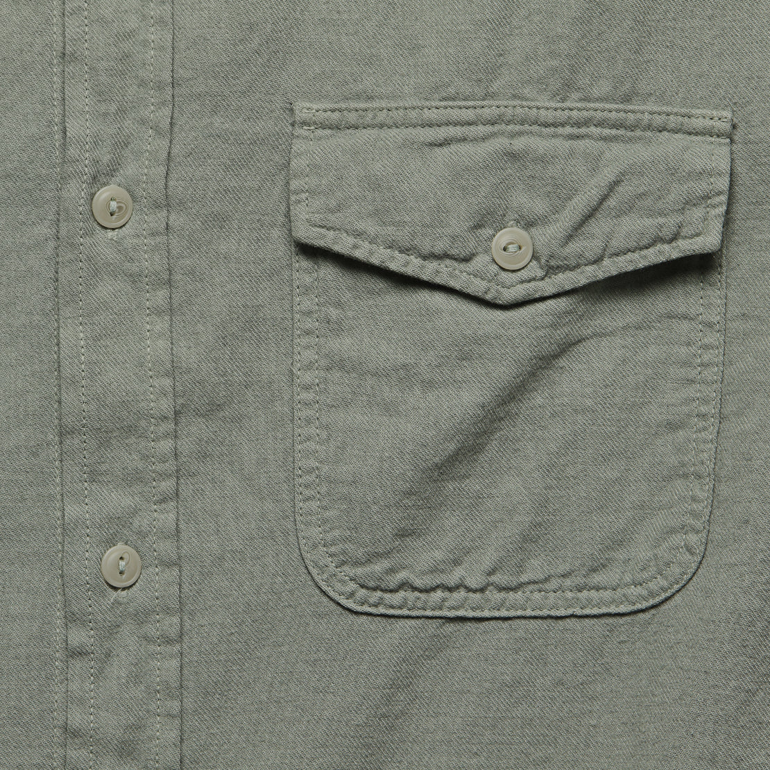 Oat Flannel Workshirt - Sprout