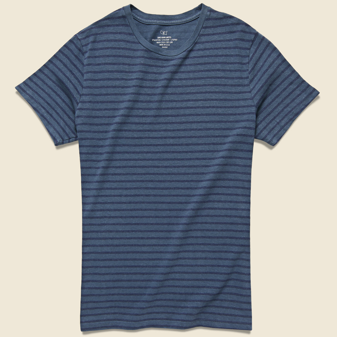 Save Khaki Striped Cotton Hemp Crew Tee - Blue