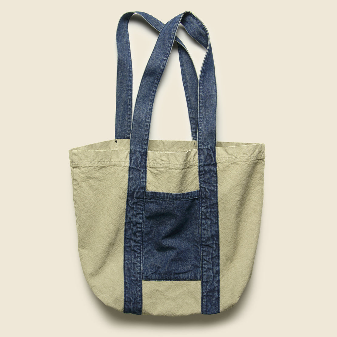Save Khaki Canvas/Denim Tote Bag - Khaki