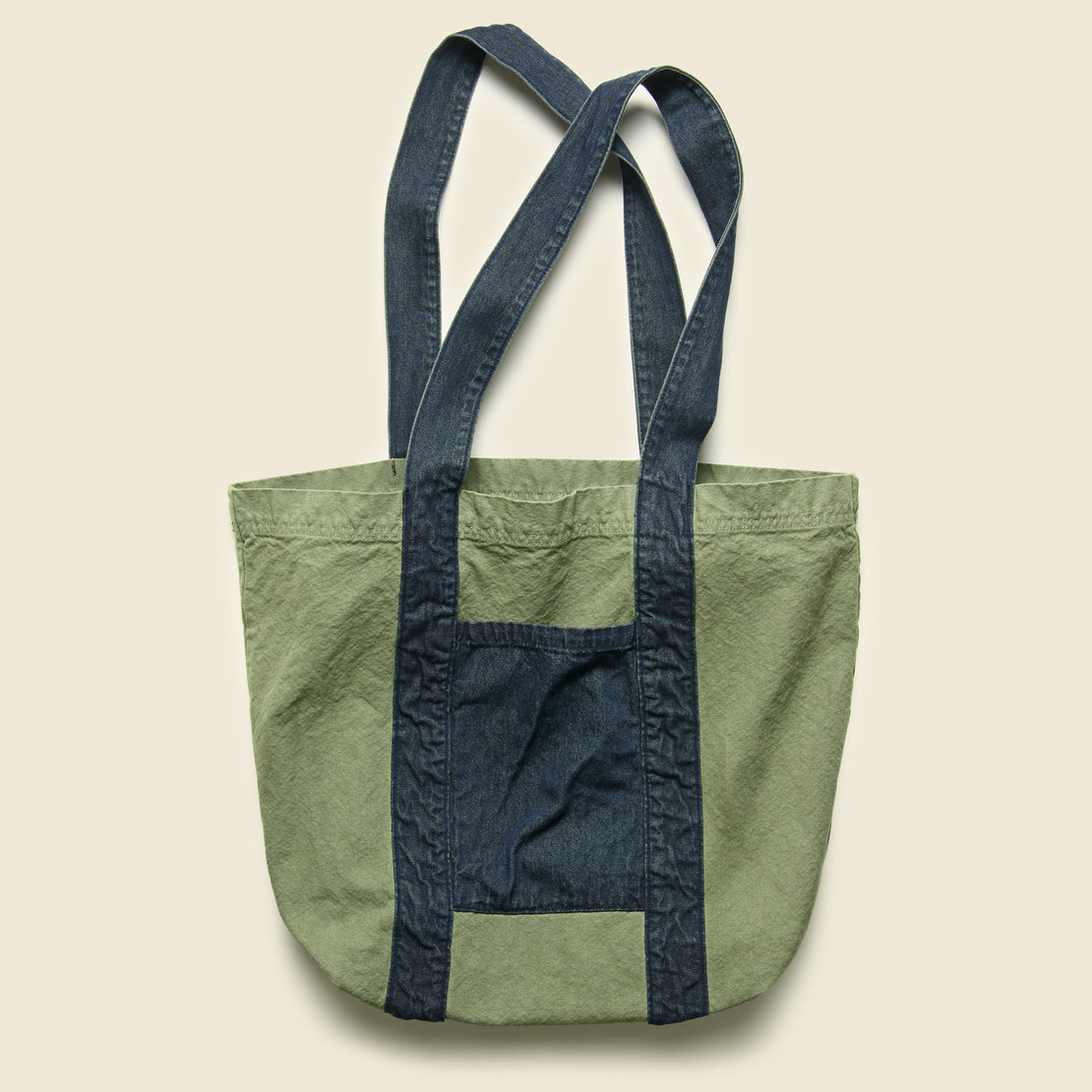 Save Khaki Canvas/Denim Tote Bag - Olive