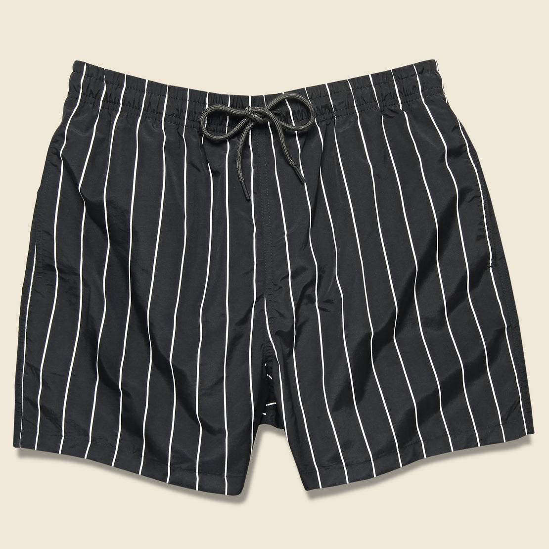 Solid & Striped Pinstripe Swim Trunk - Black/Cream