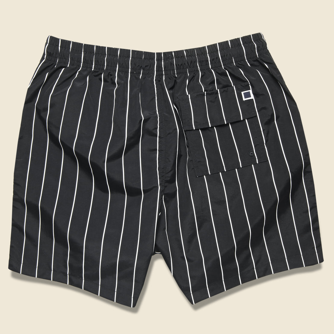 Pinstripe Swim Trunk - Black/Cream