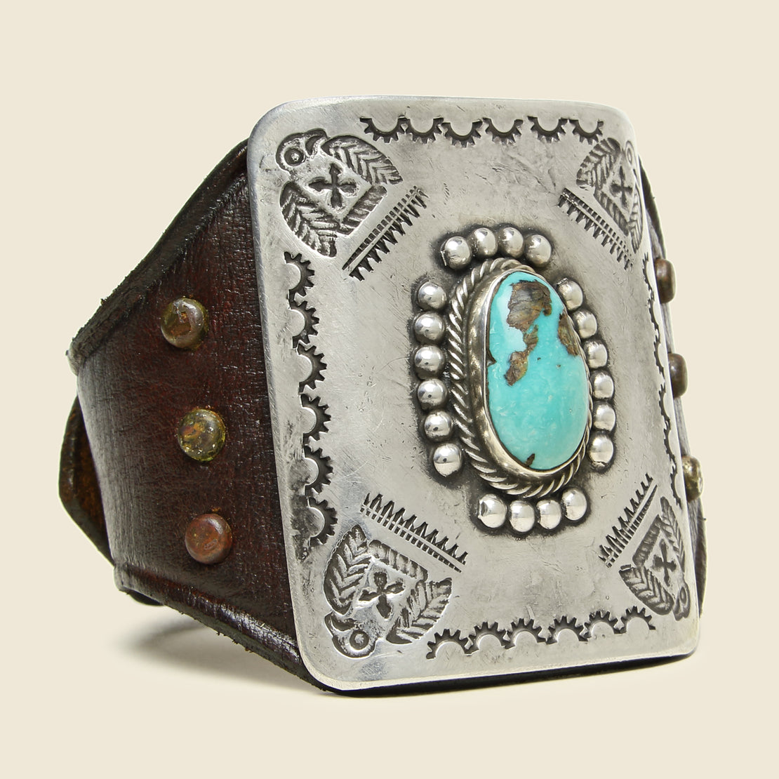 Smith Bros. Trading Co. Thunderbird Stamped Ketoh - Leather/Sterling/Turquoise