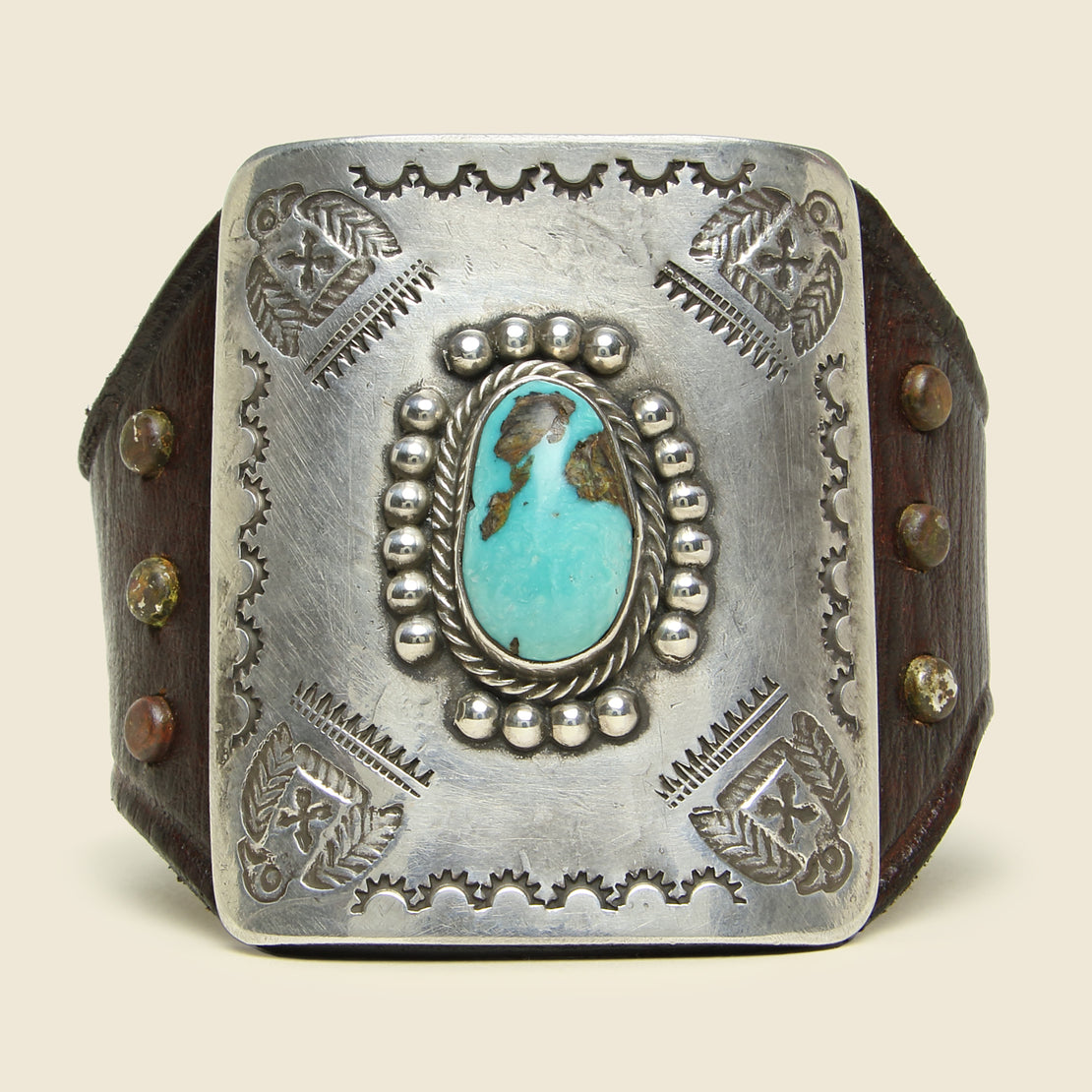Thunderbird Stamped Ketoh - Leather/Sterling/Turquoise