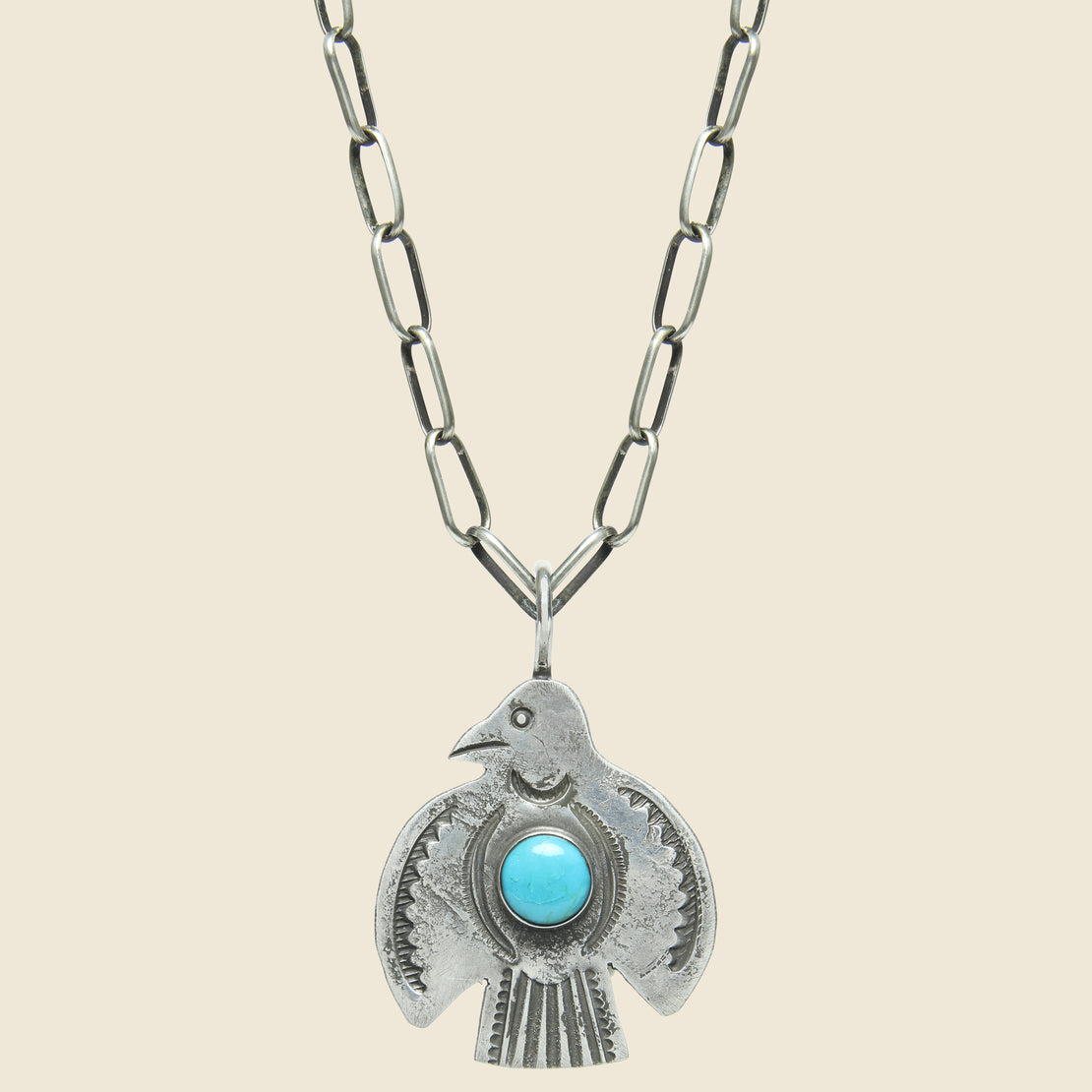 Smith Bros. Trading Co. Round Wings Thunderbird Pendant Necklace - Sterling/Turquoise