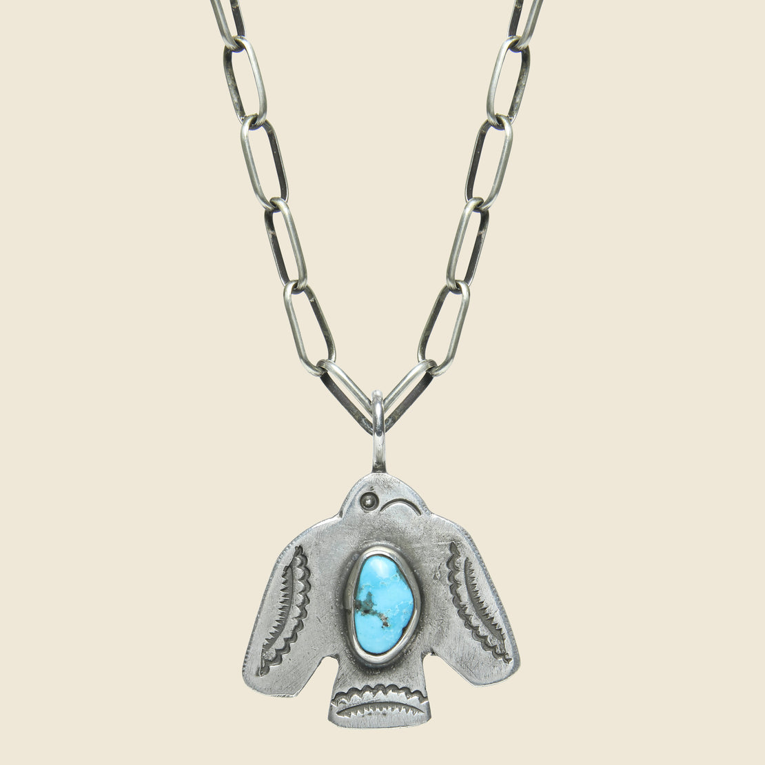 Smith Bros. Trading Co. Scallop Tail Thunderbird Pendant Necklace - Sterling/Turquoise