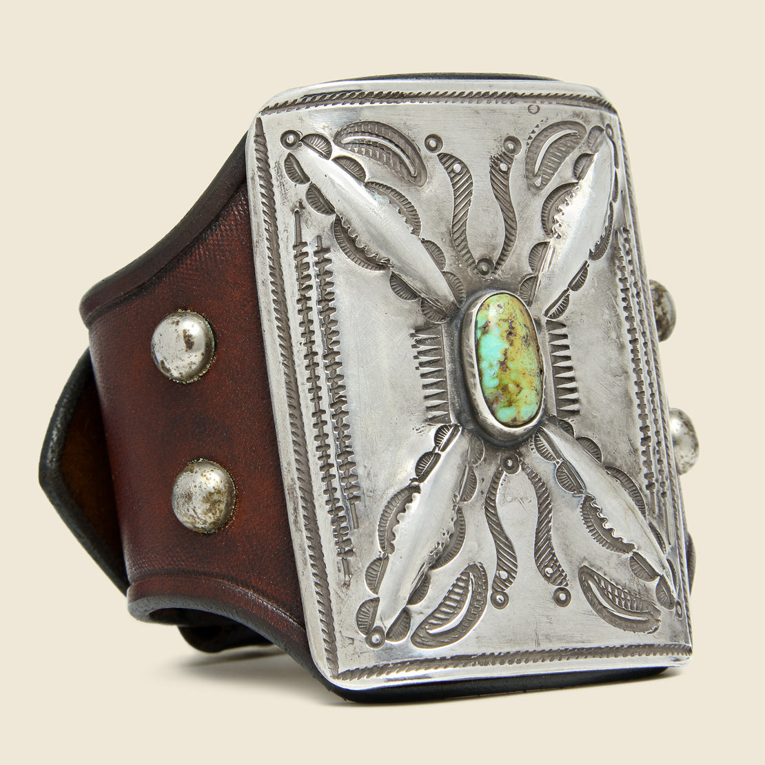 Smith Bros. Trading Co. Cresent & Dash Stamped Ketoh - Leather/Sterling/Turquoise