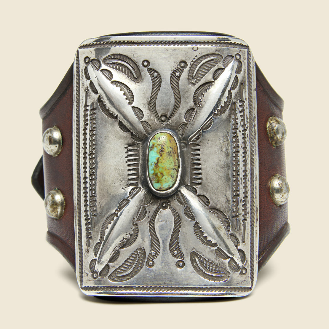 Cresent & Dash Stamped Ketoh - Leather/Sterling/Turquoise