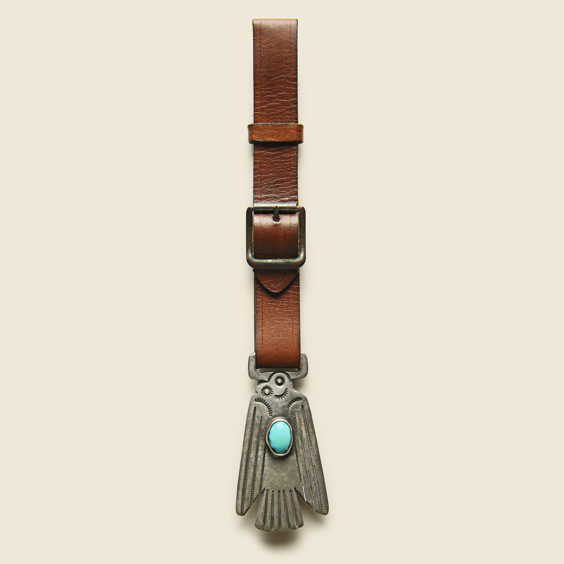Smith Bros. Trading Co. Thunderbird Watch Fob - Leather/Sterling/Turquoise