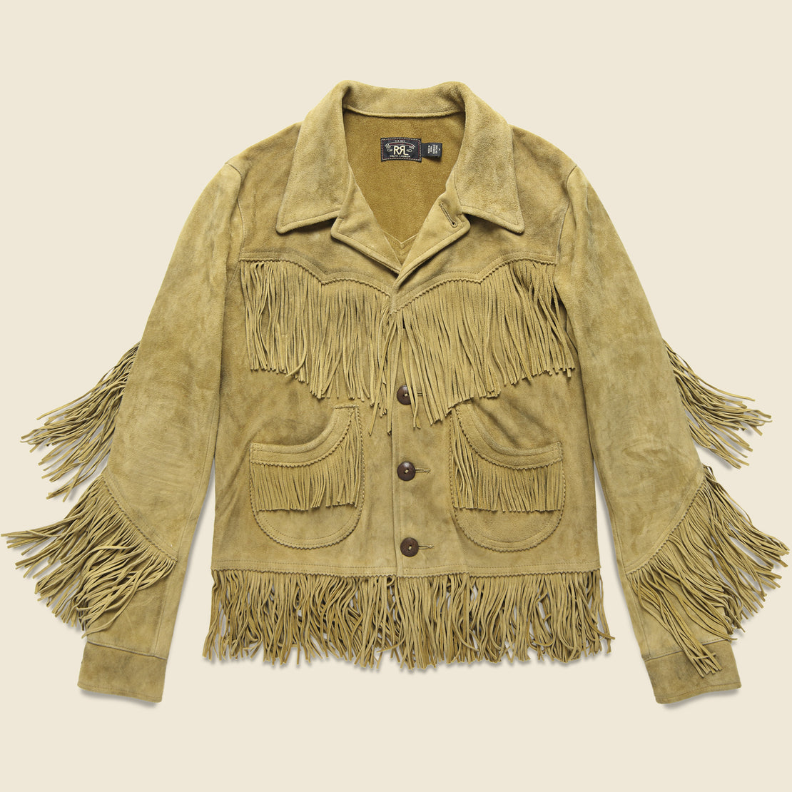RRL Lexington Fringe Jacket - Tan Suede