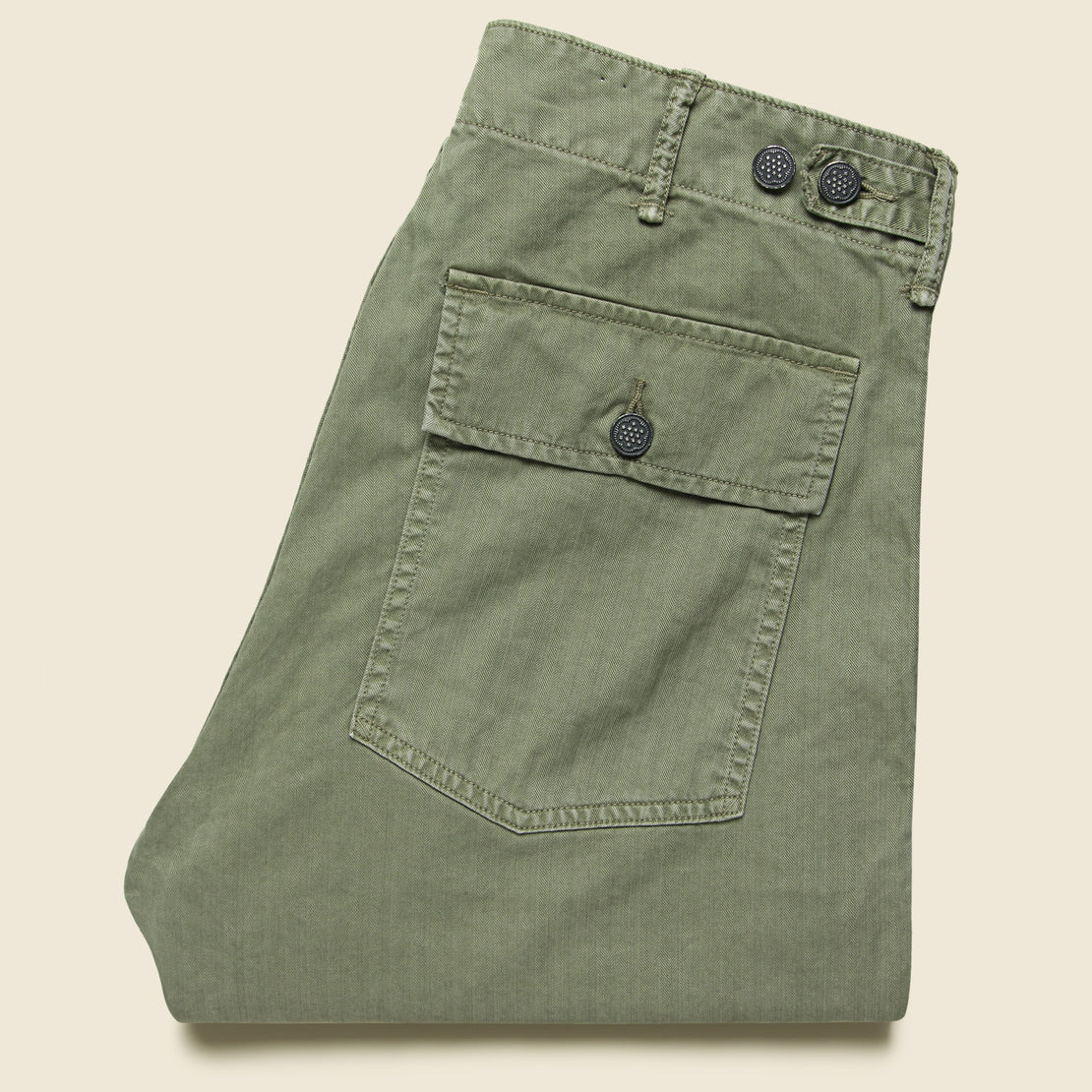 RRL Army Cotton Herringbone Utility Pant - Brewster Green