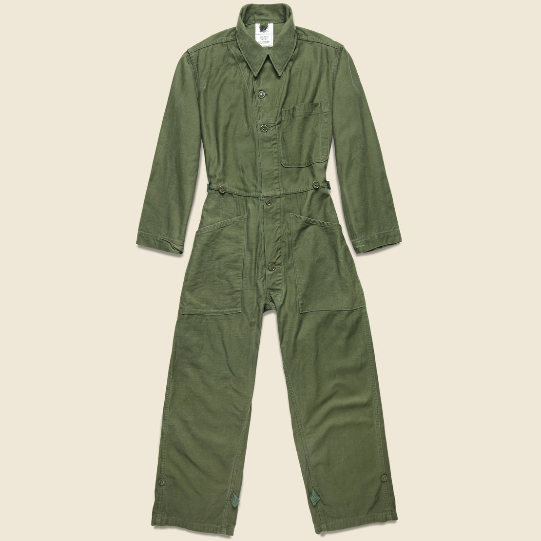 Vintage Cotton Sateen Type I Military Coverall - Olive Drab