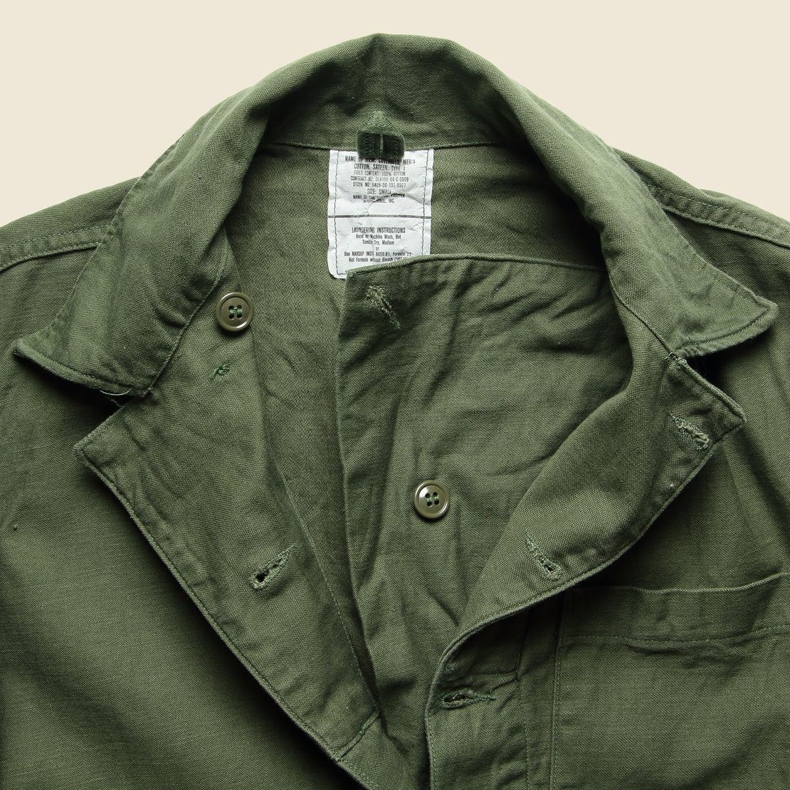 Cotton Sateen Type I Military Coverall - Olive Drab