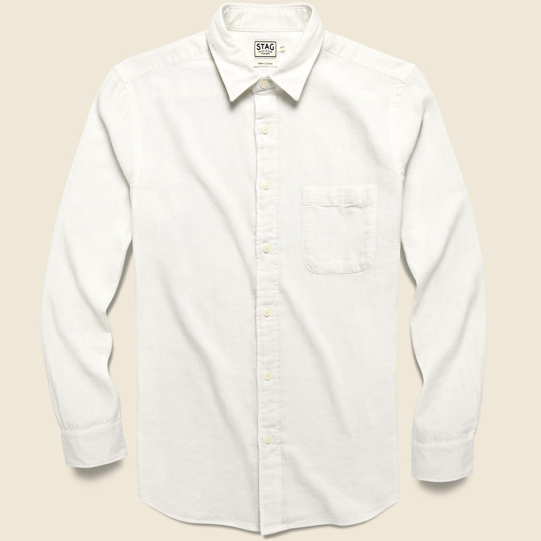 STAG Garment-Dyed Double Cloth Shirt - White