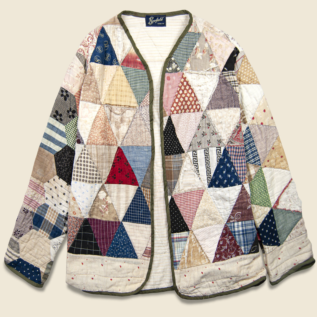 Vintage Triangles & Striped Lining Quilt Kimono - Multi