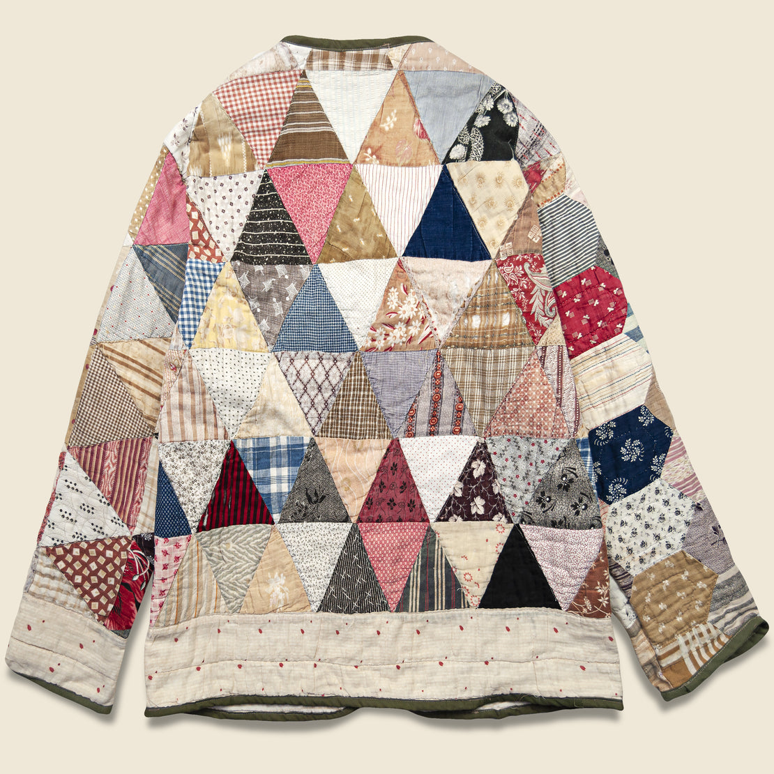 Triangles & Striped Lining Quilt Kimono - Multi