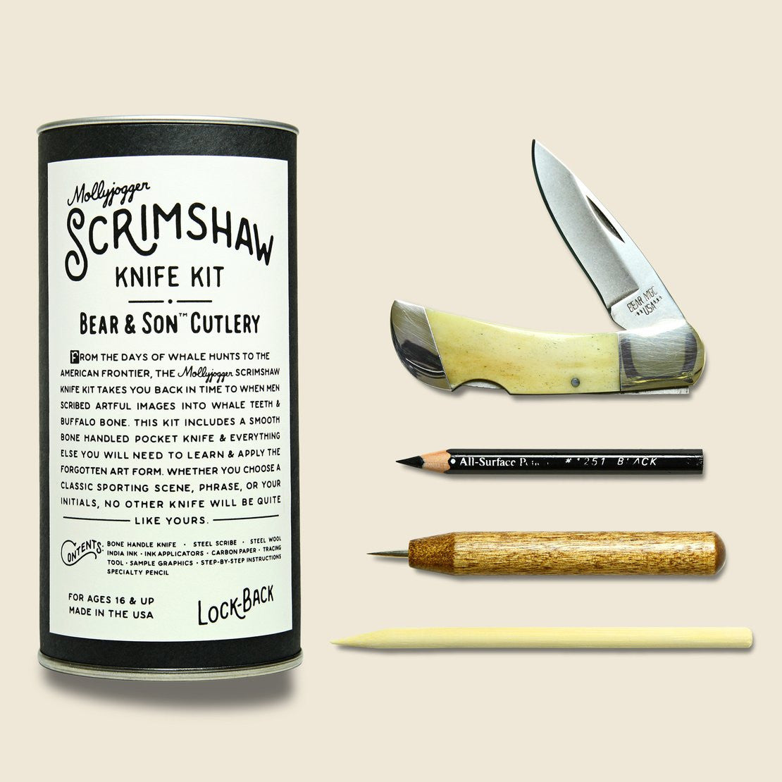 Mollyjogger Bear & Son Knife + Scrimshaw Kit