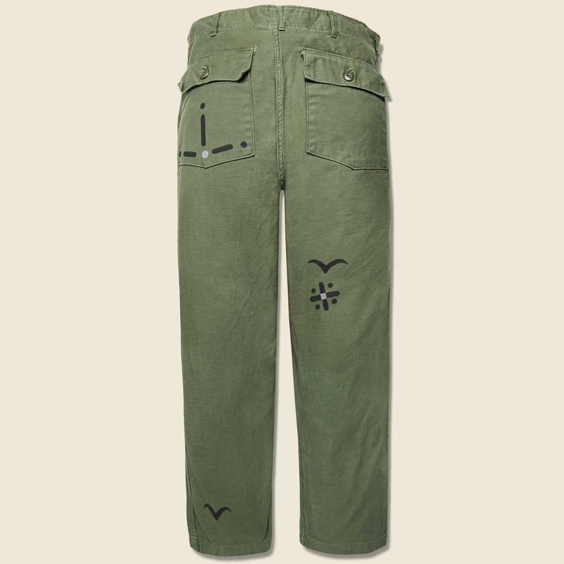 Vintage Military-Issued Sateen Fatigues - Birds