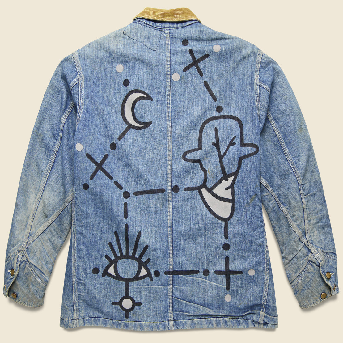 Vintage Lee Blanket-Lined Denim Chore Coat - Dot Constellation
