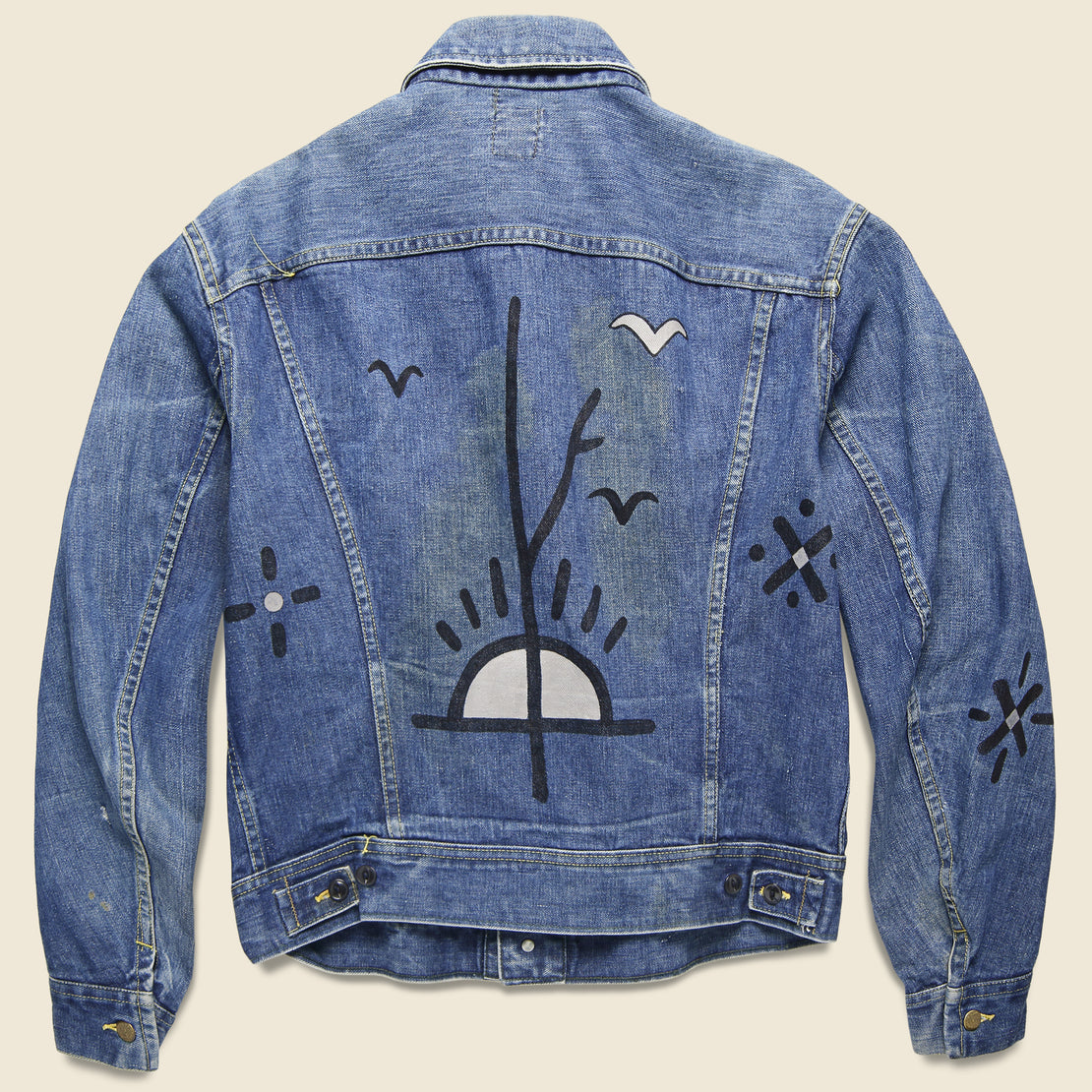 Tom Jean Webb Vintage Lee Rider Jacket - Birds & Sunrise