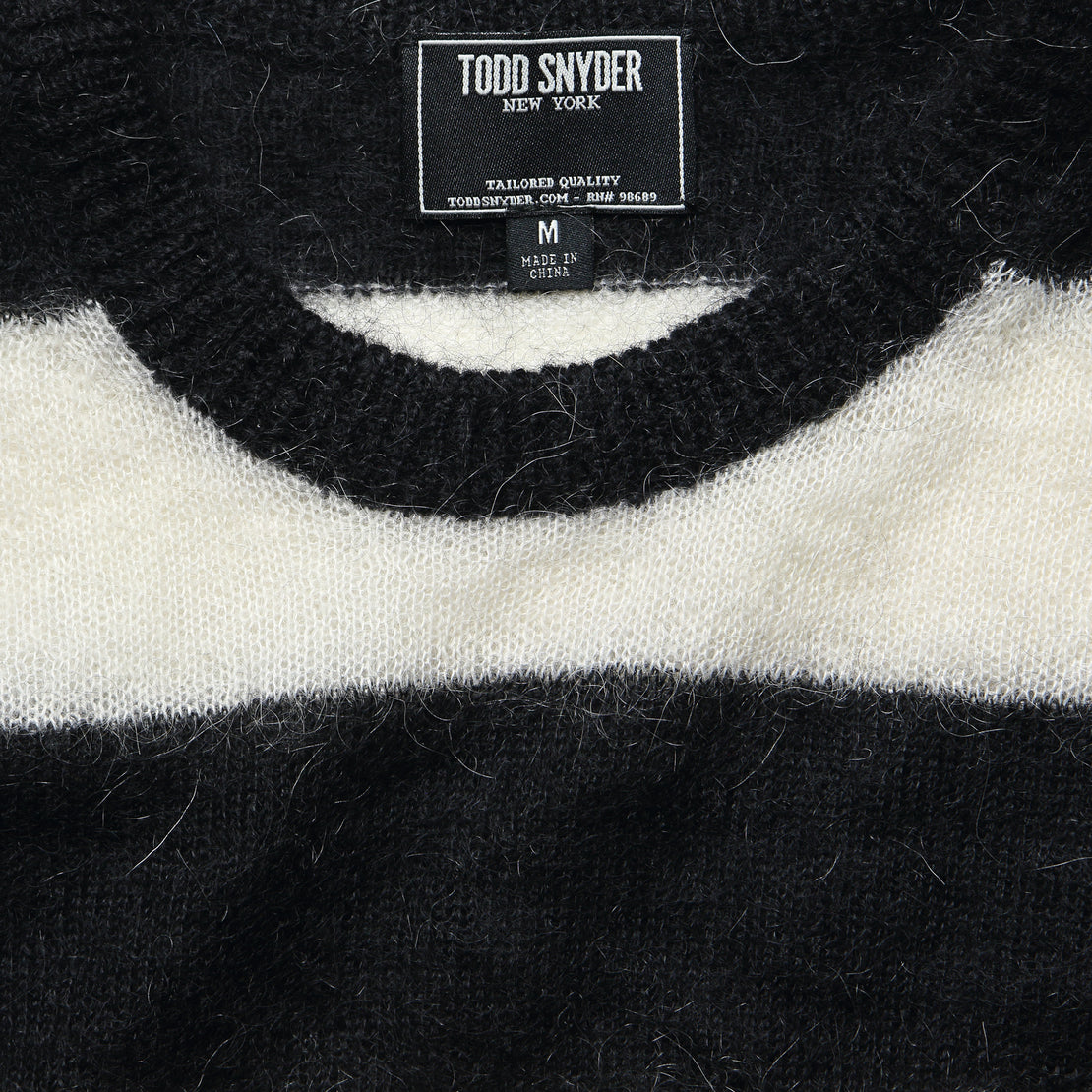 Mohair Rugby Sweater - Black/White
