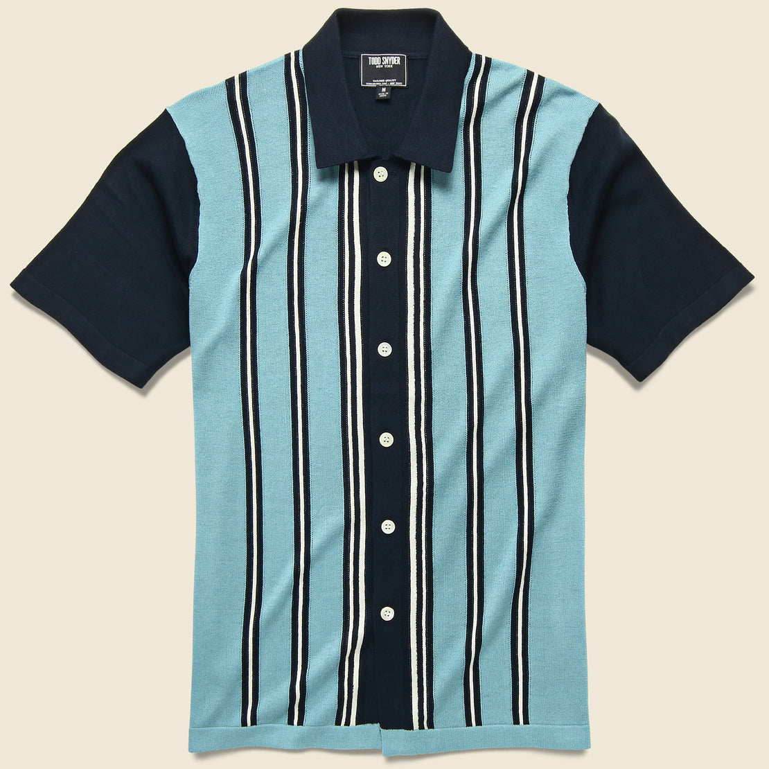 Todd Snyder Stripe Knit Button Down Polo - Navy