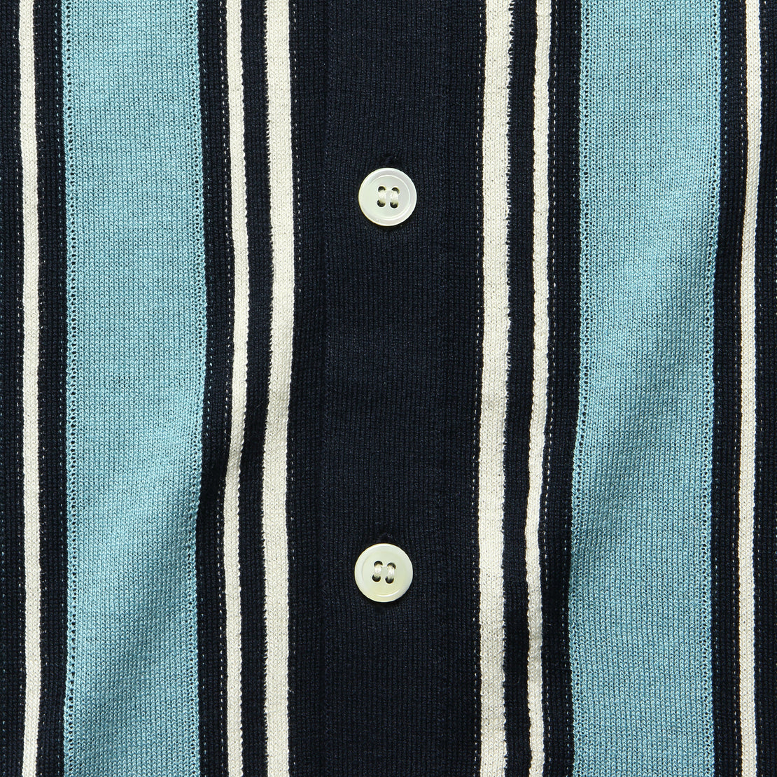 Stripe Knit Button Down Polo - Navy